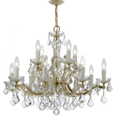 Griffiths 12-Light Crystal Chandelier Finish: Gold, Crystal Grade: Clear