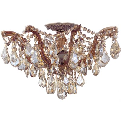 Griffiths 5-Light Semi Flush Mount Crystal Type: Swarovski Elements, Finish: Polished Gold
