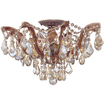 Griffiths 5-Light Semi Flush Mount Finish: Antique Brass, Crystal Type: Golden Teak Hand Polished