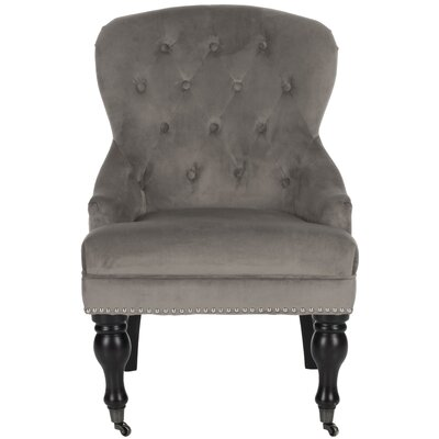 Mcdaniel Armchair Upholstery: Mushroom Taupe, Leg Finish: Black, Nailhead Detail: Yes
