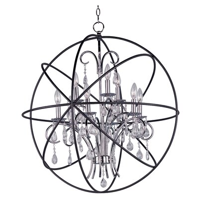 Alden 9-Light Candle-Style Chandelier Finish: Anthracite and Polished Nickel