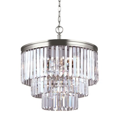 Domenique 4-Light Steel Crystal Chandelier Finish: Antique Brushed Nickel