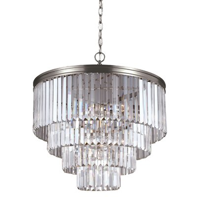 Domenique 6-Light Steel Crystal Chandelier Finish: Antique Brushed Nickel