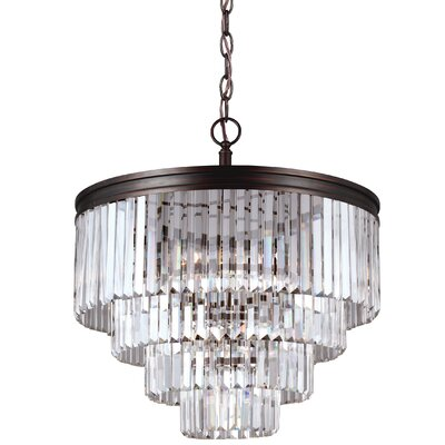 Domenique 6-Light Steel Crystal Chandelier Finish: Burnt Sienna