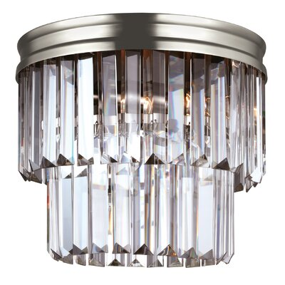 Domenique 2-Light Steel Flush Mount Finish: Antique Brushed Nickel