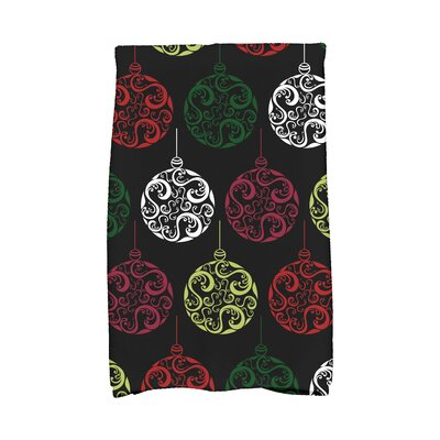 Holiday Wishes Painterly Bulbs Hand Towel Color: Black/Red/Pink