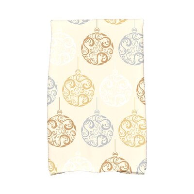 Holiday Wishes Painterly Bulbs Hand Towel Color: Brown/Gold/Silver