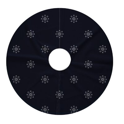 Holiday Wishes Falling Snow Decorative Holiday Geometric Print Tree Skirt Color: Navy Blue