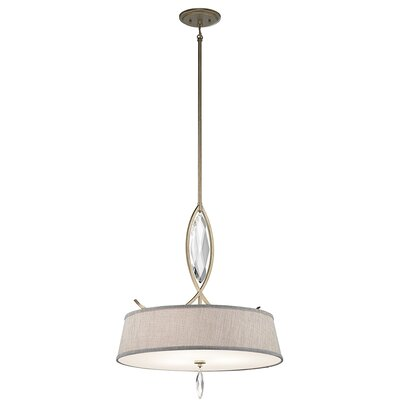 Brookline 3-Light Shade Pendant Finish: Sterling Gold