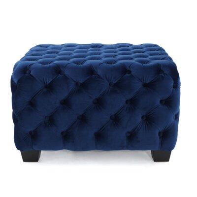 Barry Tufted Velvet Ottoman Upholstery: Navy Blue