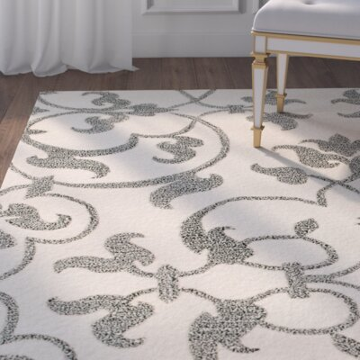 Rhona Hand-Tufted Ivory/Grey Area Rug Rug Size: Square 8