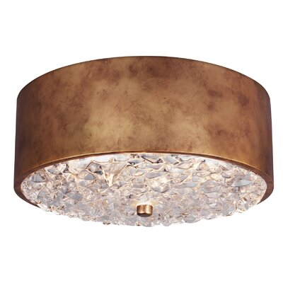 Fieldstone 2-Light Flush Mount Finish: Antique Burnished Brass