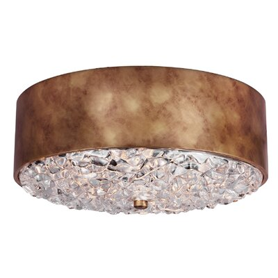 Fieldstone 3-Light Flush Mount Finish: Antique Burnished Brass