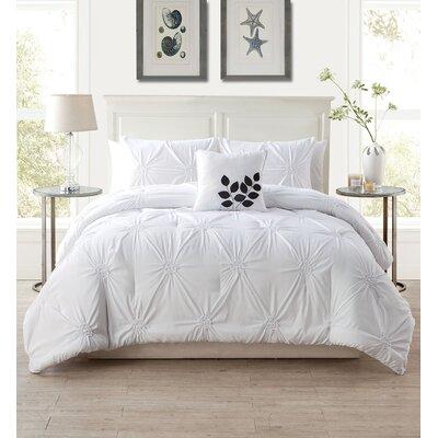 Dilsen 4 Piece Comforter Set Size: Queen, Color: White