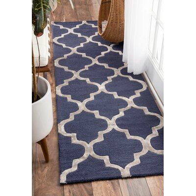 Landau Hand-Tufted Navy Area Rug Rug Size: Runner 2'6
