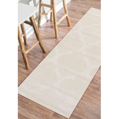 Alonza Hand-Woven Cream Area Rug Rug Size: Runner 26 x 8