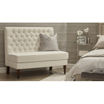 Belle 49.5 Tufted Settee Bedroom Bench Color: Porcelain