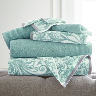 Swirl 6 Piece Towel Set Color: Aqua