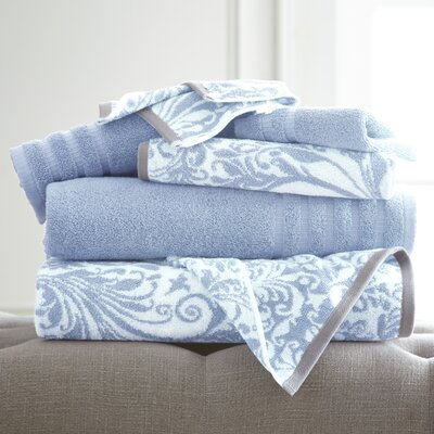 Swirl 6 Piece Towel Set Color: Blue
