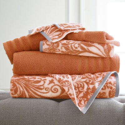 Swirl 6 Piece Towel Set Color: Coral