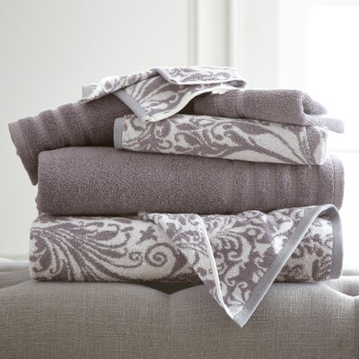 Swirl 6 Piece Towel Set Color: Ash Gray