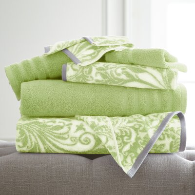 Swirl 6 Piece Towel Set Color: Sage Green