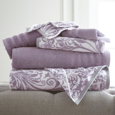 Swirl 6 Piece Towel Set Color: Grey Lavender
