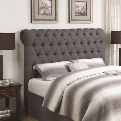 New Milton Upholstered Panel Headboard Upholstery: Gray, Size: King