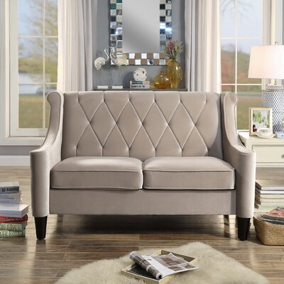 Buchanan Wingback Loveseat Color: Milky Beige