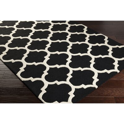 Frank Hand-Hooked Black Area Rug Rug Size: Rectangle 36 x 56