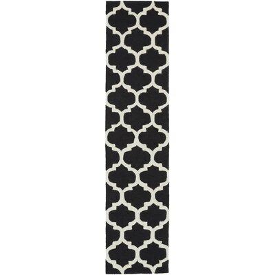 Frank Hand-Hooked Black Area Rug Rug Size: Runner 23 x 76