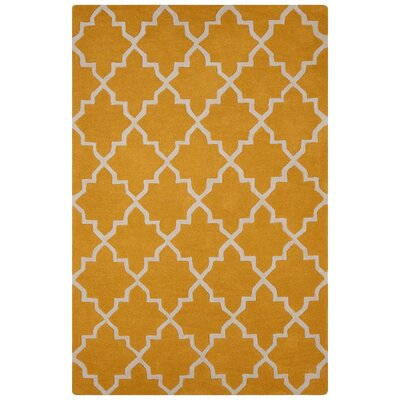 Sampson Hand-Tufted Yellow/Ivory Area Rug Rug Size: 8 x 10