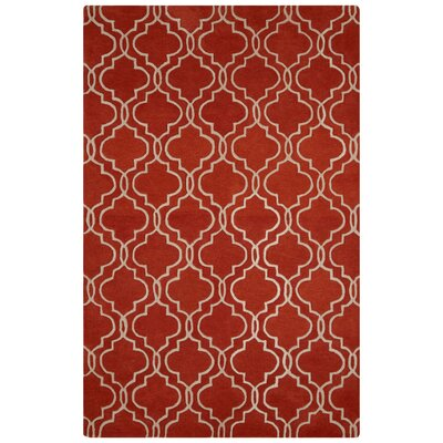 Sampson Hand-Tufted Orange/Ivory Area Rug Rug Size: 2 x 3