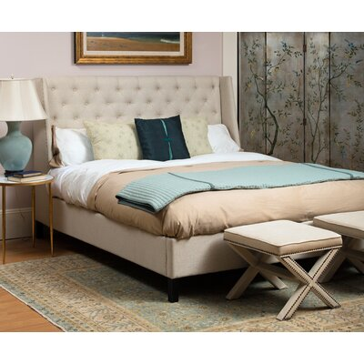 Filton Upholstered Panel Bed Size: King, Color: Natural