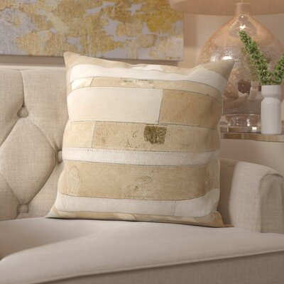Russet Leather Throw Pillow Color: Beige