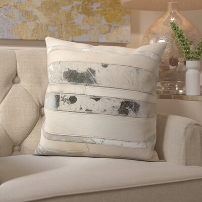 Franciosa Natural Leather Hide Throw Pillow Color: White Silver