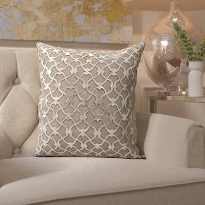 Fassbender Natural Leather Throw Pillow Color: Gray/Silver