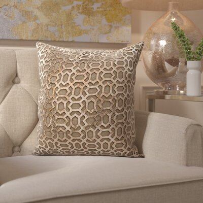 Fassbender Natural Leather Throw Pillow Color: Brown/Gold