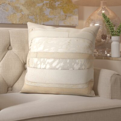 Franciosa Natural Leather Hide Throw Pillow Color: White Gold