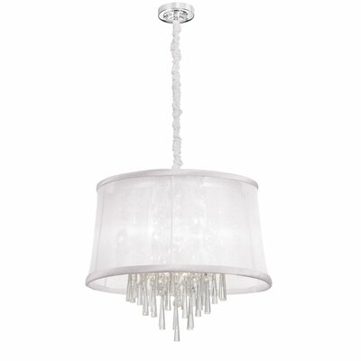 Deston Traditional 6-Light Shaded Chandelier Shade Color: White