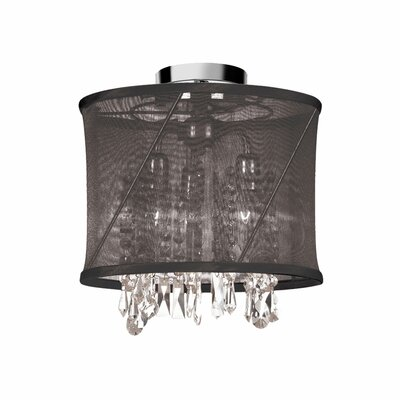 Hackford 3-Light Semi Flush Mount Shade Color: Black