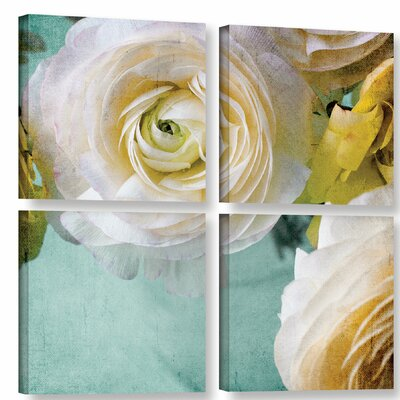 White Flower 4 Piece Graphic Art on Wrapped Canvas Set Size: 36
