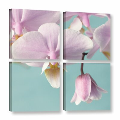 Orchid on Blue B 4 Piece Photographic Print on Wrapped Canvas Set Size: 36