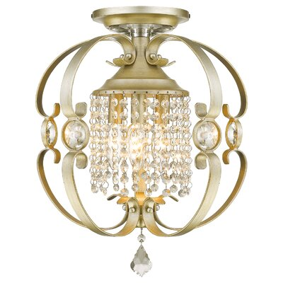 Hardouin 3-Light Semi-Flush Mount Finish: White Gold