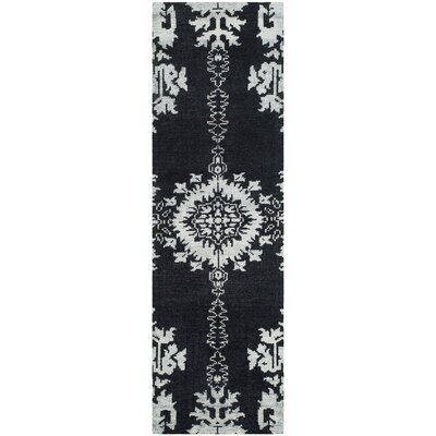 Bottesford Hand-Knotted Charcoal Area Rug Rug Size: Runner 26 x 8