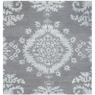 Bottesford Hand-Knotted Gray Area Rug Rug Size: Square 6