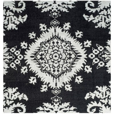 Bottesford Hand-Knotted Charcoal Area Rug Rug Size: Square 6