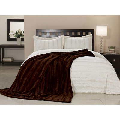 Florencio Luxe Mink Fur Throw Blanket Color: Caramel, Size: King