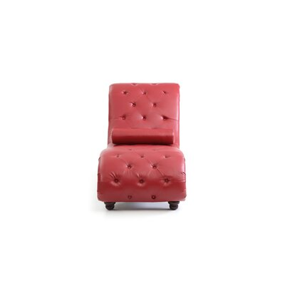 Renhold Chaise Lounge Upholstery: Red