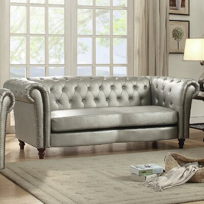 Renhold Chesterfield Rolled Arms Sofa Upholstery: Antique Silver